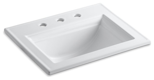 """Kohler Memoirs Self-Rimming Lavatory With Stately Design And 8"""" Centers, White"""