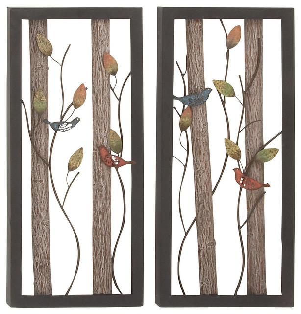 Metal Wooden Tree Vines And Birds Wall Art 2 Assorted 16 W 36 H