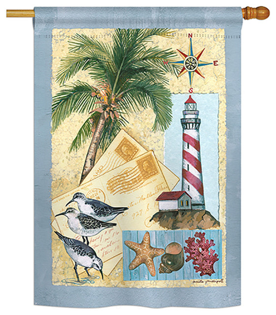 Lighthouse Letters Coastal Decorative Vertical House Flag 28 X40 Tropical Flags And Flagpoles By Breeze Decor Houzz