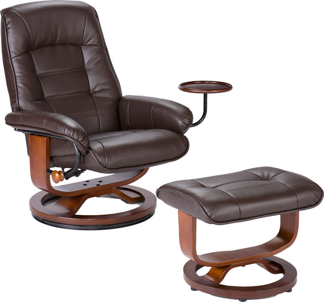 Bonded Leather Recliner And Ottoman, Coffee Brown