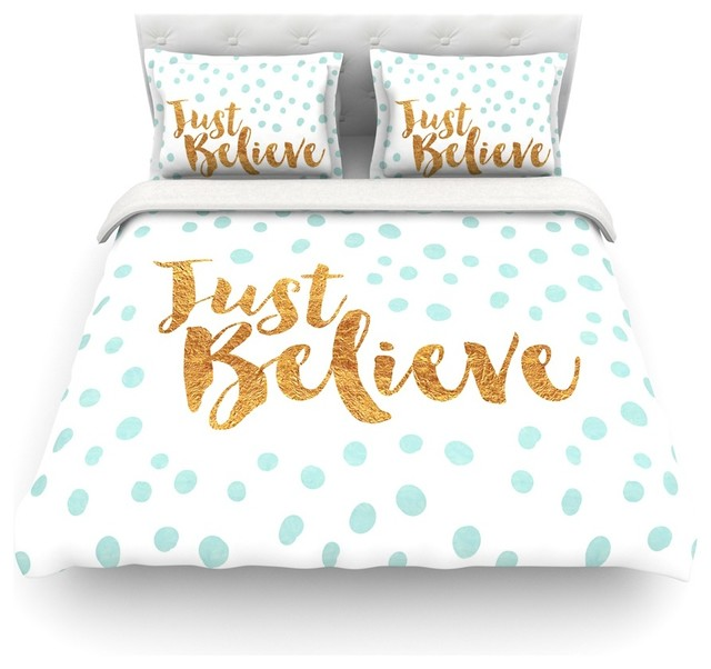 Nick Atkinson Just Believe White Gold Featherweight Duvet Cover