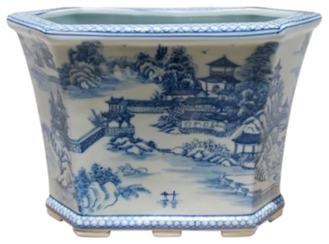 Beautiful Blue and White Blue Willow Landscape Porcelain Foot Bath w Stand
