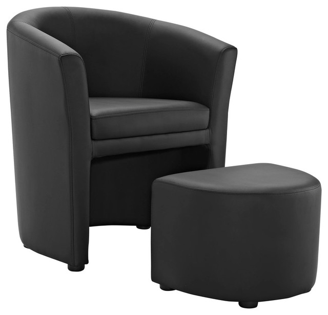 Pleasing Modern Contemporary Armchair And Ottoman Black Faux Leather Pdpeps Interior Chair Design Pdpepsorg