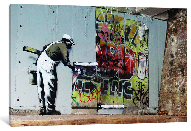 """graffiti Wallpaper Hanging"" By Banksy, 40x26x0.75""."