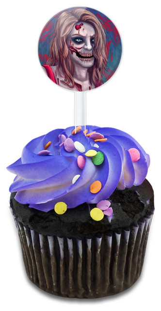 Zombified Girl Cupcake Toppers Picks Set.
