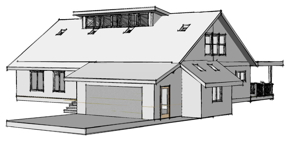 Front View showing garage workshop pop-out bay; second story clerestory window