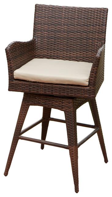 Gdf Studio Royer Outdoor Wicker Brown Swivel Barstool