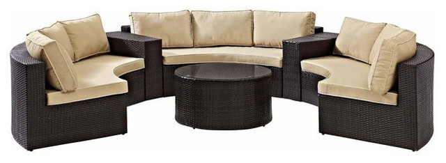 Catalina 6-Piece Outdoor Wicker Seating Set With Sand Cushions