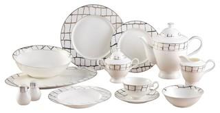"Bone China Royalty Porcelain /""Black Greek Key/"" 57-pc Dinnerware Set for 8"