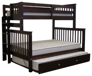 Bunk Beds Twin Over Full End Ladder Cappuccino Full Trundle Transitional