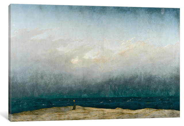 """monk"" By Sea, 1809 "" By Caspar David Friedrich, 40x26x1.5""."