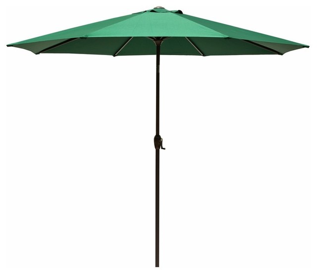 9&x27; Outdoor Premium Vented Patio Umbrella With Crank Open, Forest Green.