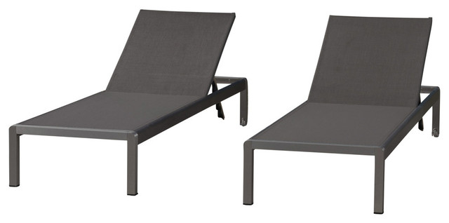 GDF Studio Crested Bay Outdoor Aluminum Chaise Lounge, Dark Gray Mesh, Set of 2