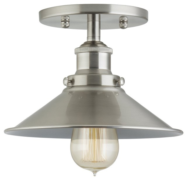 Industrial Factory Semi Flushmount Ceiling Lamp - Brushed Nickel One-Light.