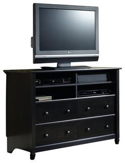Sauder Edge Water Highboy TV Stand in Estate Black - Modern - Media Storage - by Homesquare
