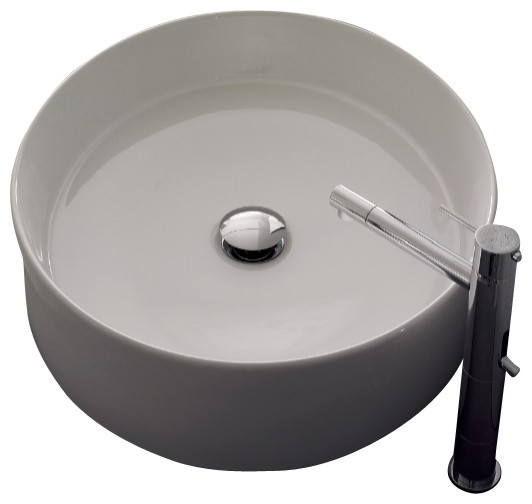 Oval-Shaped White Ceramic Vessel Sink, No Hole.