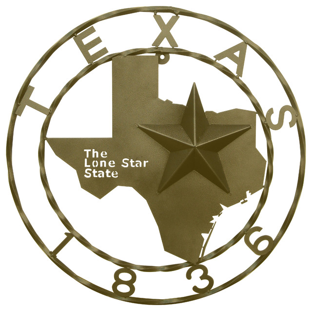"Texas Star Wall Decor 29"" texas map & 1836 star wall decor - southwestern - wall accents"