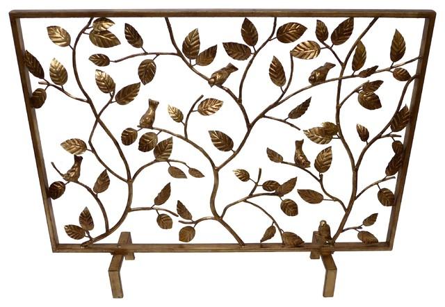 Bird Branch Fire screen, Antique Gold - Fireplace Screens - by ...