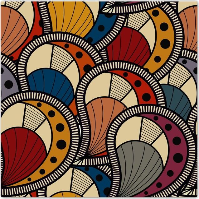 "Textured Scallop Multi Colors Pattern Design Ceramic Art Tile, 4.25"" X 4.25""."