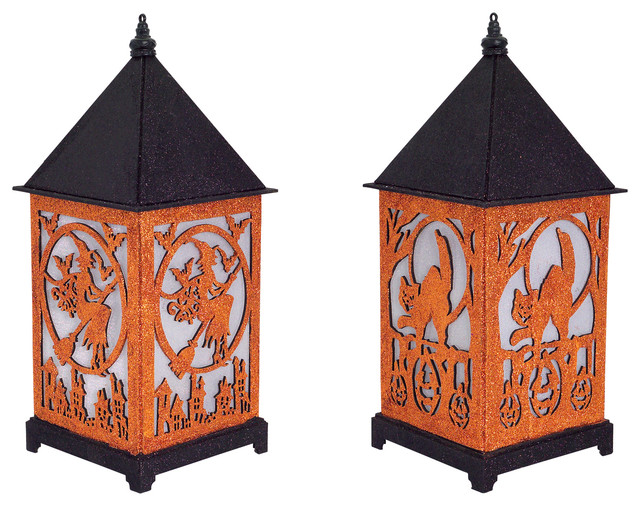 Led Halloween Lantern, Set Of 2.