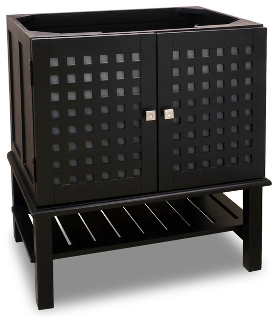 """Lyn Vanity With Glass Inserts, Without Top, 31.5""""."""