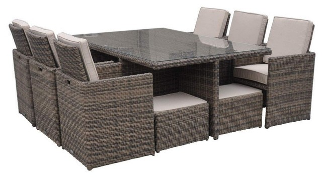Rattan Cushioned Garden Patio Furniture Outdoor Dining Table Cube Set,  11 Piece Tropical