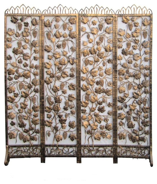 Golden Color Plants Motif Metal PanelScreen Asian Screens And