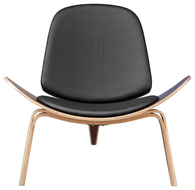 Shell Chair By Lemoderno, Black Leather armchairs-and-accent-chairs