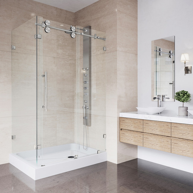 "Vigo 36""x48"" Frameless 3/8"" Shower, With Right Base."