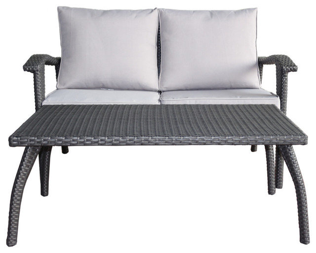 GDF Studio 2-Piece Hilary Outdoor Loveseat and Coffee Table Set, Gray/Silver