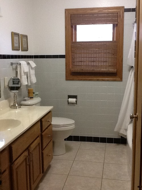 1950s gray and black tile bathroom. Help!