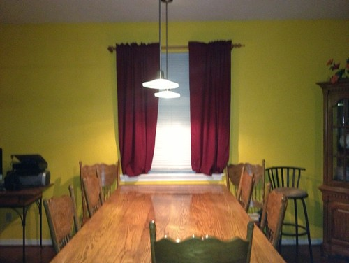 Need ideas for curtains on yellow wall