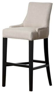 "Abbyson Living Hudson 43"" Fabric Nailhead Bar Stool, White"