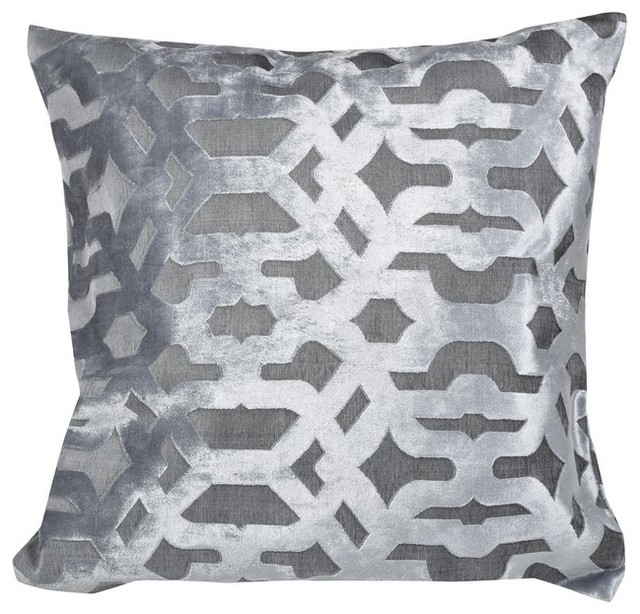 Velvet Geo Grey Feather Filled Decorative Throw Pillow Square Cushion 20x20