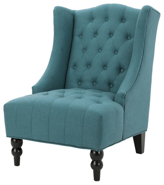 GDF Studio Adriana Tall Wingback Tufted Fabric Club Chair   Traditional    Armchairs And Accent Chairs   By GDFStudio