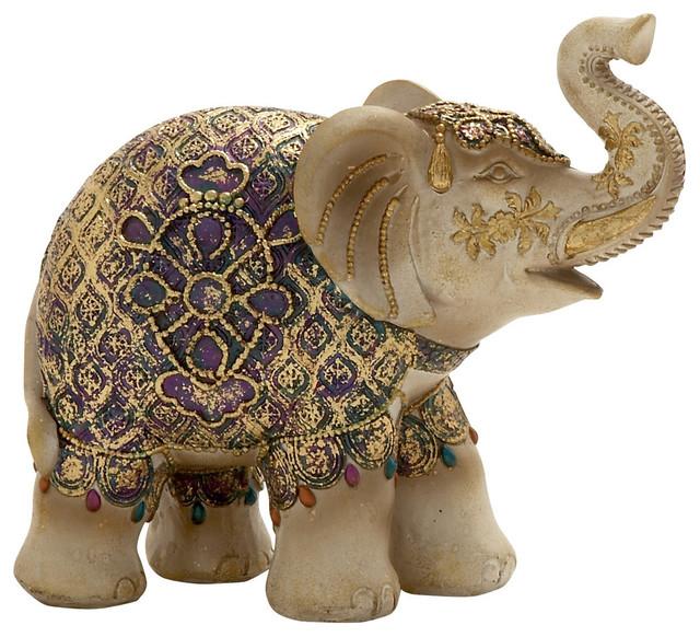 Artistically Designed Elephant Figurine Mediterranean