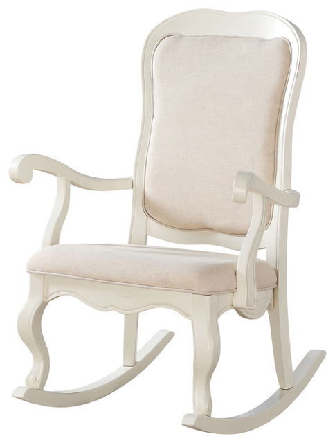 Acme Sharan Rocking Chair Fabric And Antique White
