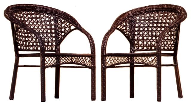 Malibu Outdoor Patio Wicker Armchairs, Set of 2 - Malibu Outdoor Patio Wicker Armchairs, Set Of 2 - Tropical - Outdoor