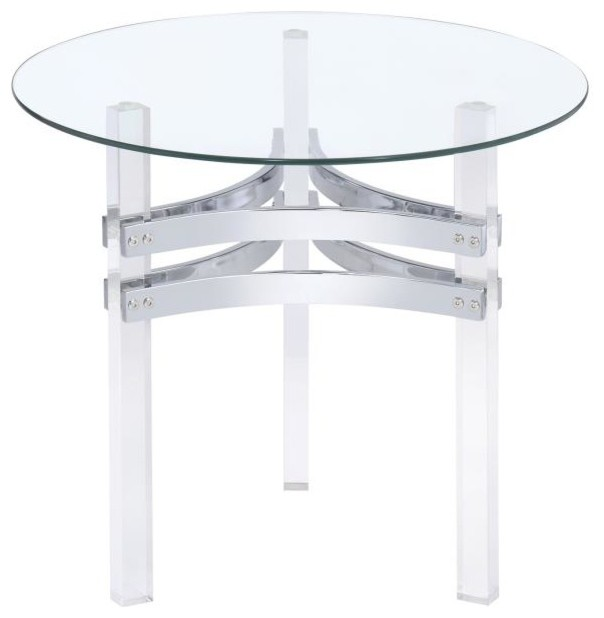 Contemporary Round Glass Top Occasional End Table Acrylic