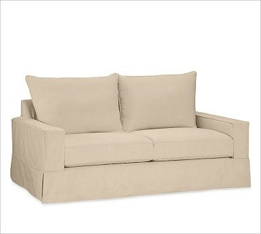 PB fort Square Sofa with Knife Edge Cushion Slipcover Twill Camel Traditional Sofas by
