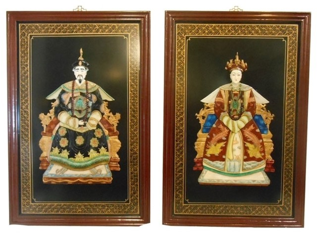 Oriental Ancestor Wall Panels, 2 Piece Set Asian Wall Accents