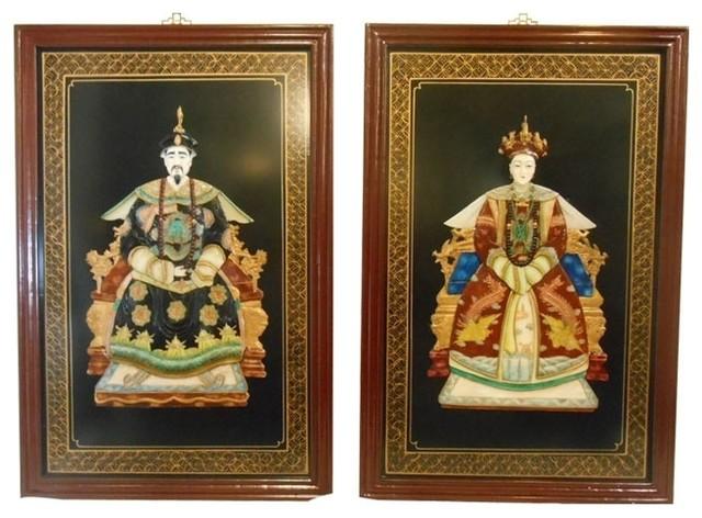 Oriental Ancestor Wall Panels, 2-Piece Set - Asian - Wall Accents ...