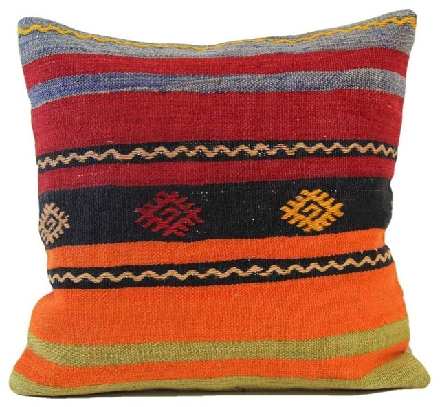 Handmade Vintage Throw Pillows : Shop Houzz Authenturkish Handmade Vintage Kilim Pillow Cover, 16