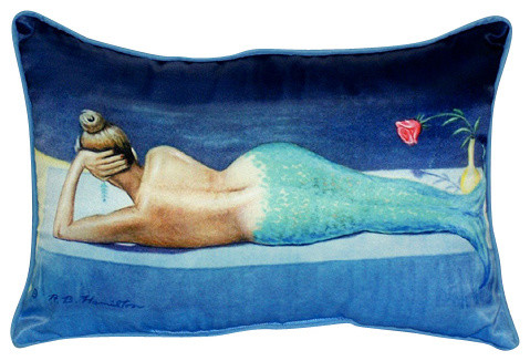 Betsy Drake Mermaid Indoor/Outdoor Pillow - Beach Style - Outdoor ...