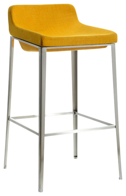Modrest Adhil Modern Yellow Fabric Bar Stool Contemporary Stools And Counter