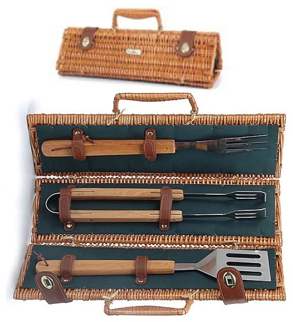 Set Of Three Bbq Tools In Triangular Willow Carrying Case.