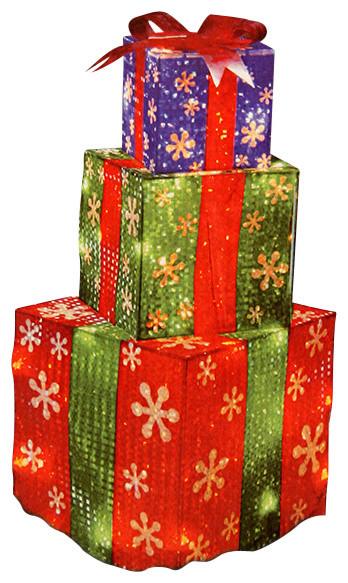 Stacked Holographic Present Christmas Yard Decoration, 24 ...