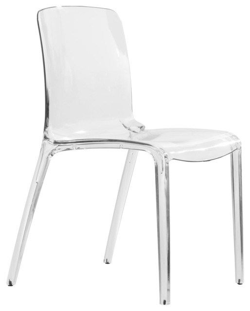 Gentil LeisureMod Murray Lucite Stackable Molded Dining Side Chair, Clear