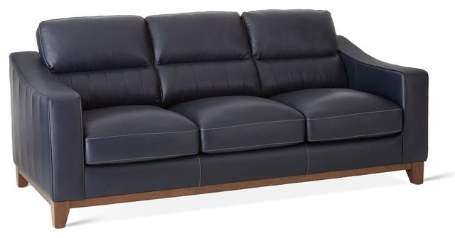 Keelan Leather Sofa With Navy - Transitional - Sofas - by GwG Outlet