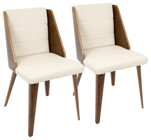 Galanti Mid-Century Modern Accent Chair, Walnut And Cream Faux Leather, Set Of 2.